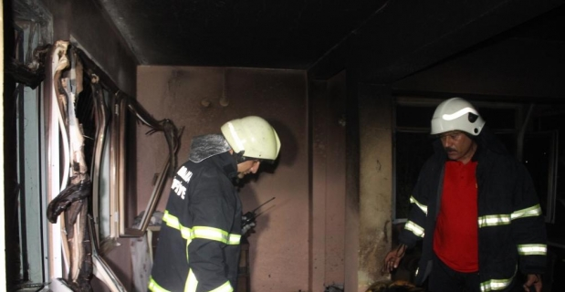 Evini ateşe veren şüpheli gözaltına alındı