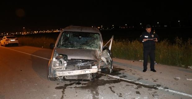 Adana'da hafif ticari araç ağaca çarptı: 1 yaralı