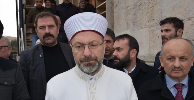 Diyanet İşleri Başkanı Erbaş depremde zarar gören camide incelemelerde bulundu: