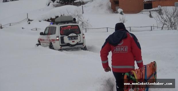Evinde rahatsızlanan kalp hastasına paletli ambulansla ulaşıldı