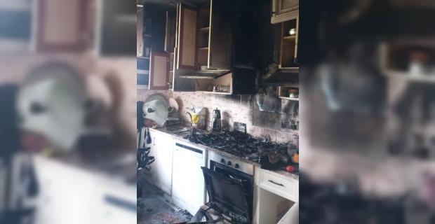 Serik'te evin mutfağında çıkan yangın hasara neden oldu