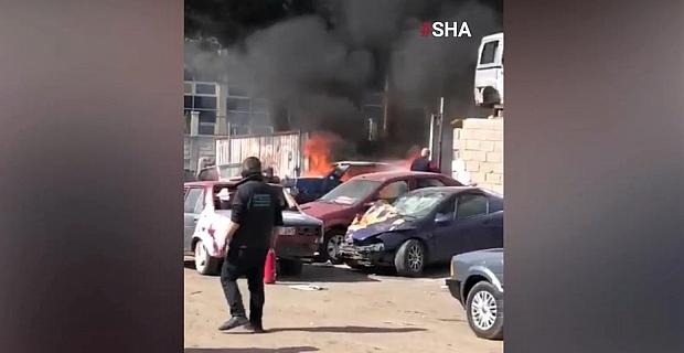 Kahramanmaraş'ta park halindeki otomobil alev alev yandı