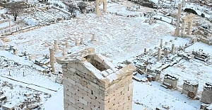 Karla kaplı Sagalassos Antik Kenti havadan görüntülendi