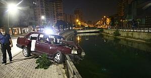Adana'da sulama kanalına düşmekten demir korkuluk kurtardı