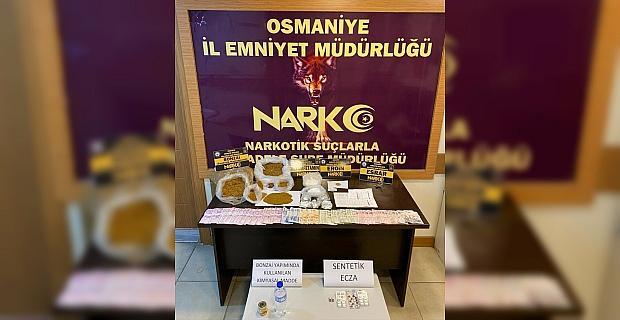 Osmaniye'de bir evde sentetik uyuşturucu ve bunun yapımında kullanılan madde ele geçirildi