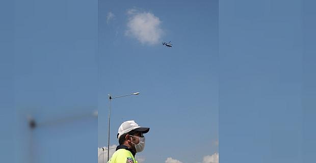Adana'da helikopter destekli trafik denetimi yapıldı
