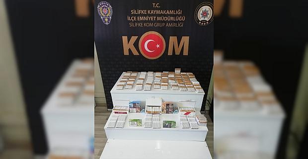 Mersin'de 3 bin 200 makaron ile nargile tütünü ele geçirildi
