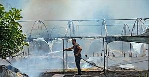 Antalya'da kuru çiçek serasında çıkan yangın hasara neden oldu