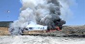 Kahramanmaraş'ta çimento fabrikasının katı atık alanında yangın çıktı